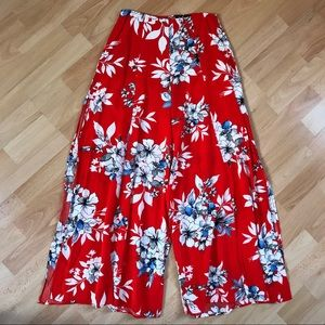 Lulu's Floral Print Flat Waist Wide Leg Pants